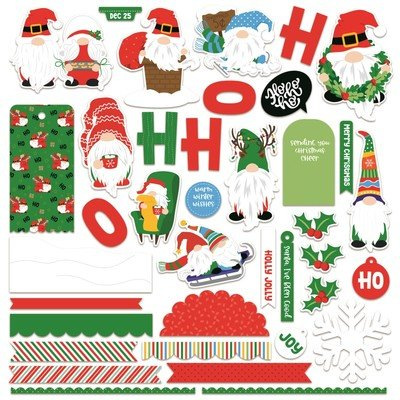 12X12 Card Kit Sticker Sheet, Gnome for Christmas