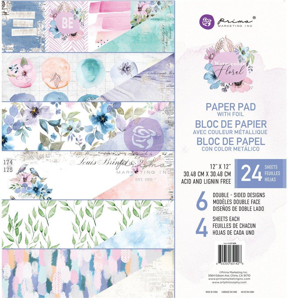 12X12 Paper Pad, Watercolor Floral