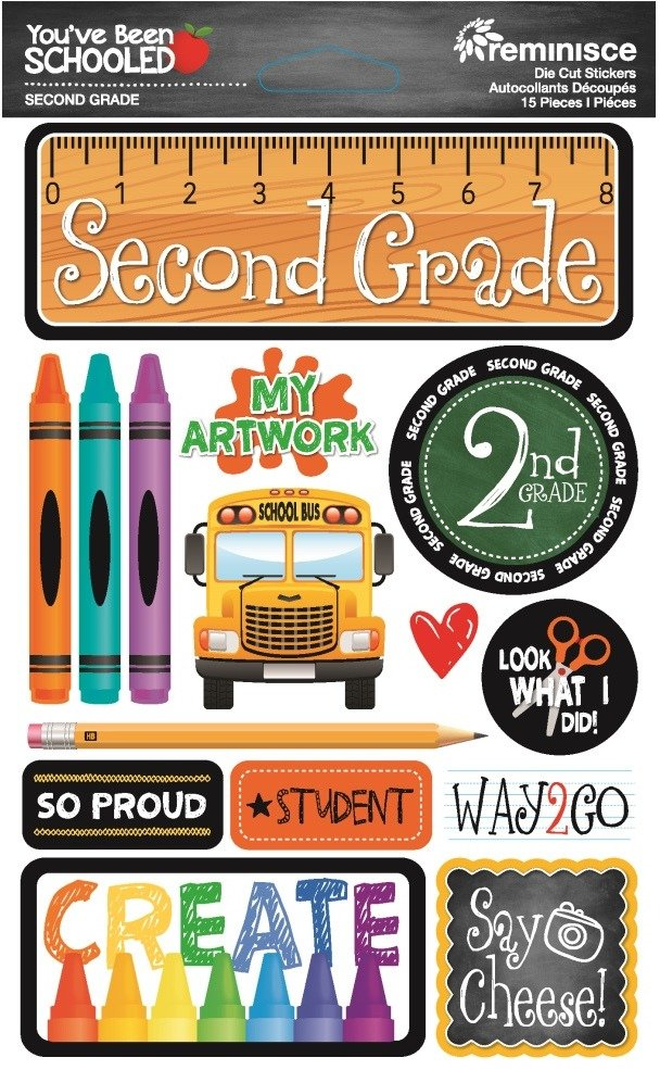3D Stickers, You've Been Schooled - 2nd Grade