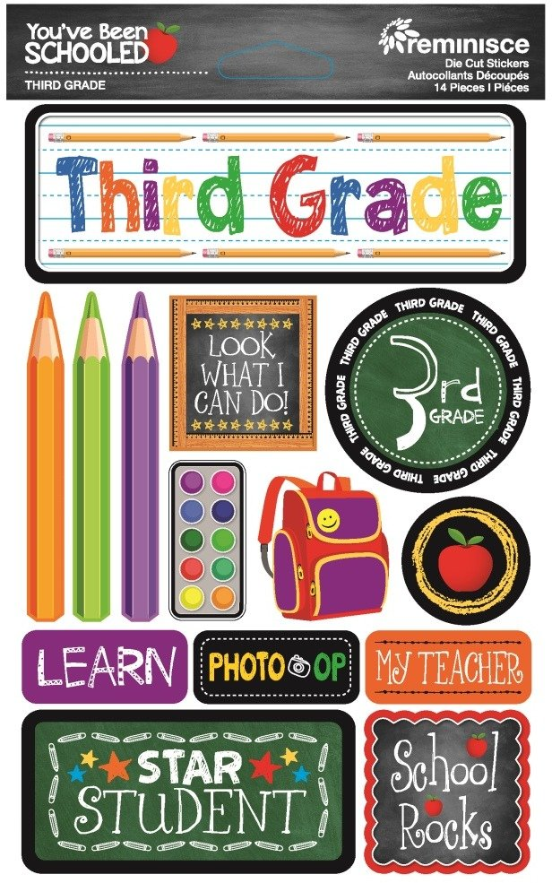 3D Stickers, You've Been Schooled - 3rd Grade