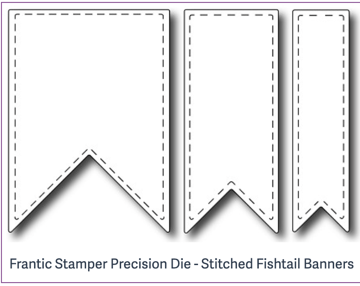 Frantic Stamper Precision Die - Stitched Fishtail Banners