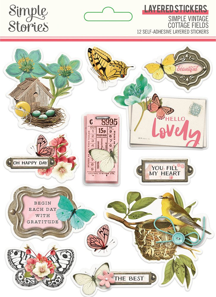 Layered Stickers, Simple Vintage Cottage Fields
