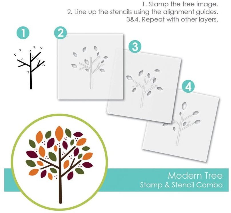 Stamp & Stencil Combo, Modern Tree