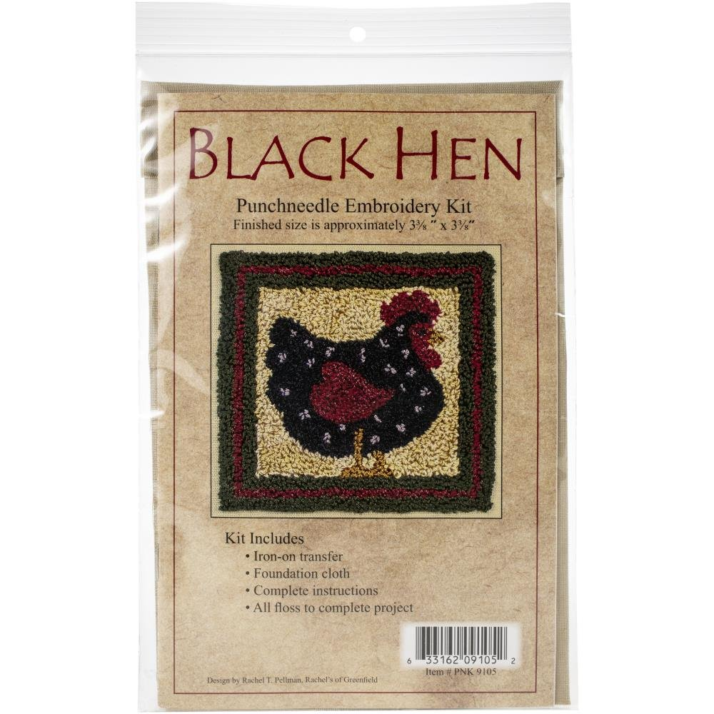 Black Hen  Needle Punch Kit - 3.375 x 3.375