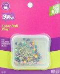 Dritz Sew 101 Color Ball Pins 80/Pkg-Size 20
