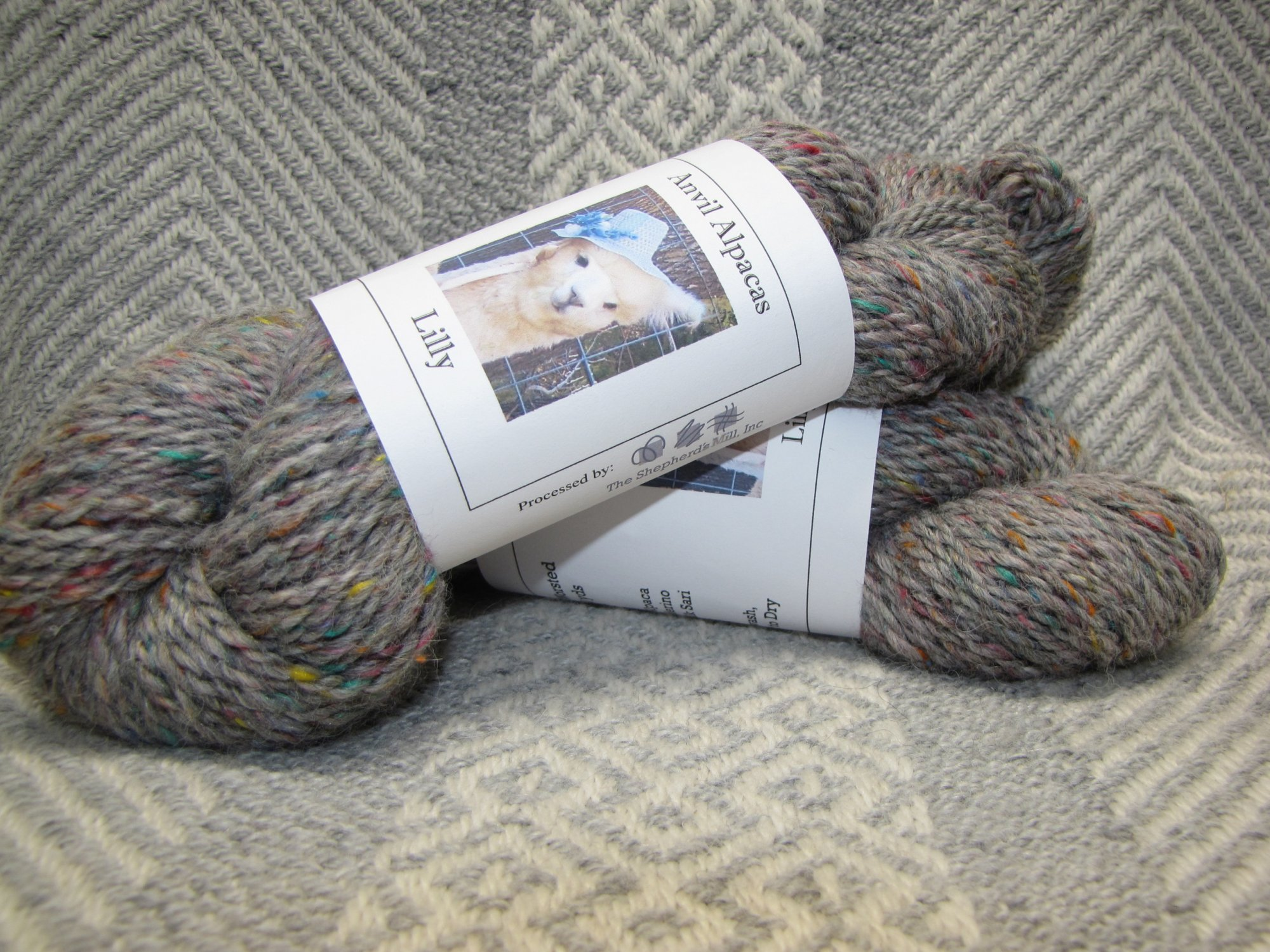 Lilly   2 Ply Worsted    Gray Confetti