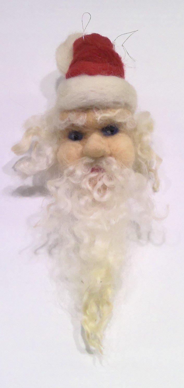 Needle felted Santa - Christmas Ornament