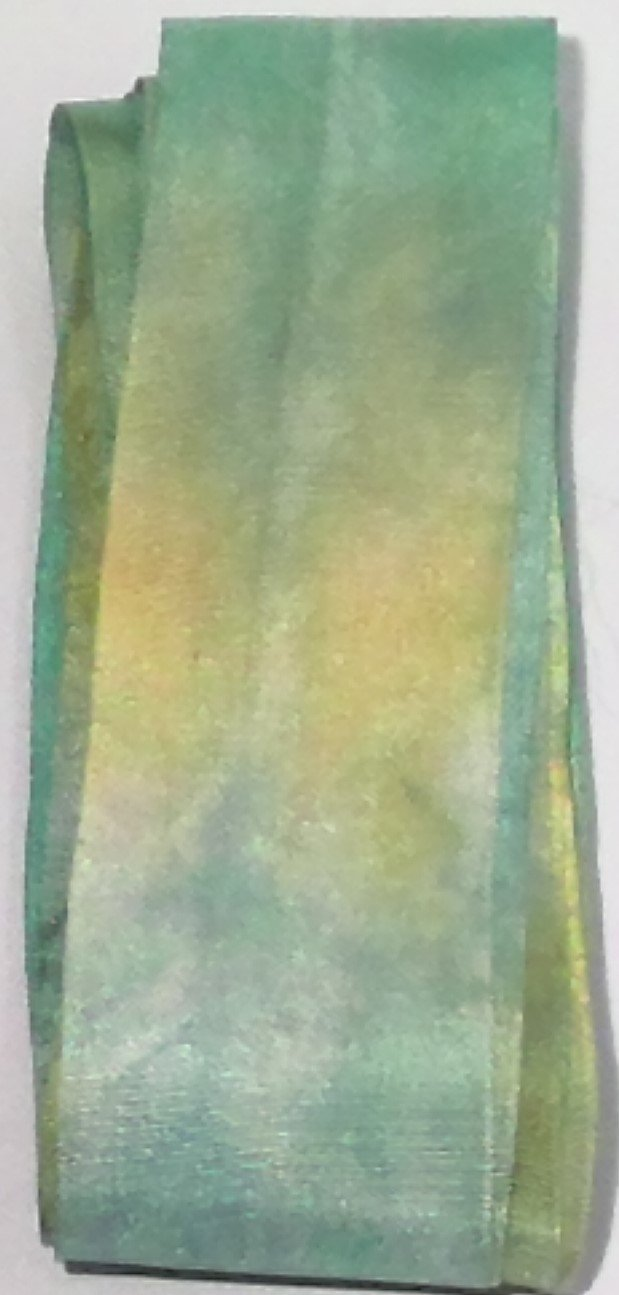 KM Hand Dyed Silk Ribbon 1 1/4in Wide Green