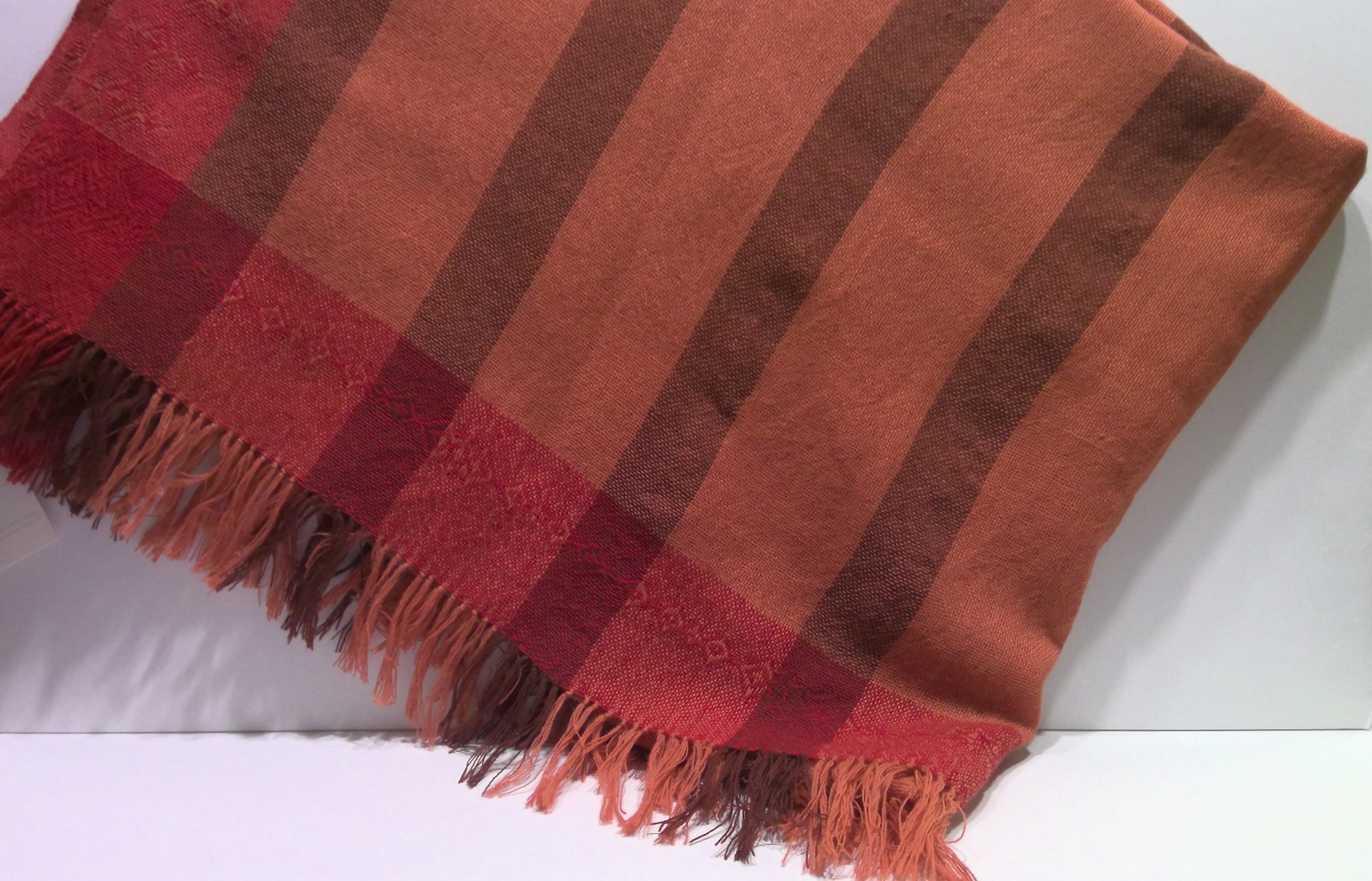 100% Wool Woven Throw Light Weight / With Fringe