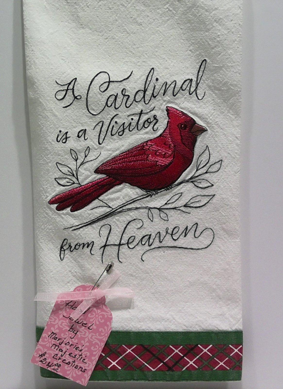 Cardinal Tea Towel  -  Hand Sewn