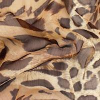 Brown/Beige Cheetah Print Crinkle Chiffon