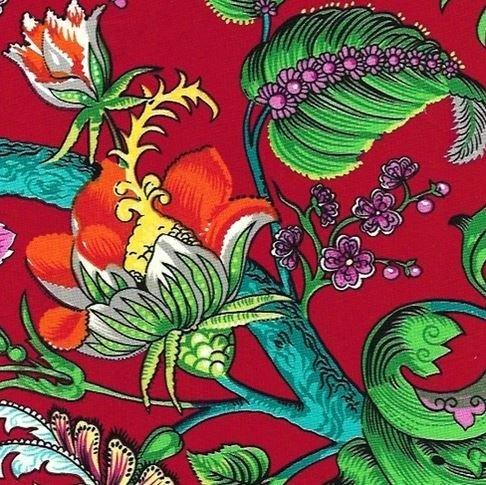 Red Garden Cotton/Lycra Stretch Woven