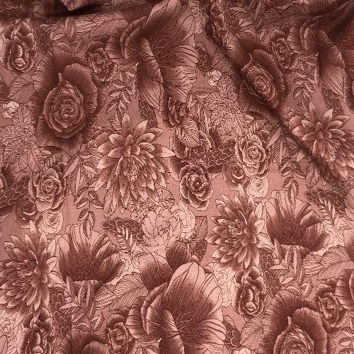 Floral Light Mahogany 100% cotton