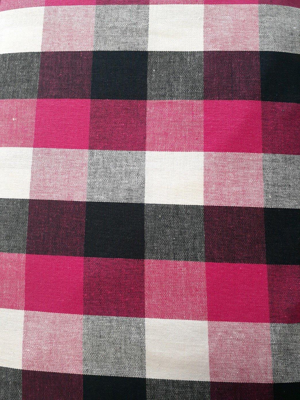 Tri Color Pink Buffalo Check Shirting Woven Fabric - 56/58 wide