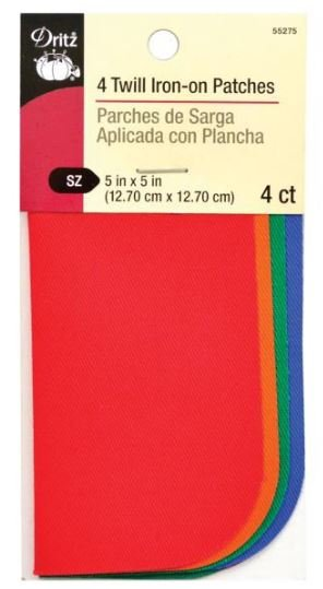 Twill Iron-On Patches Primary Color Assortment