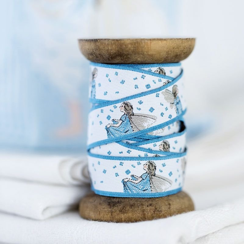 Acufactum Blue Fairy with Flowers Woven Ribbon