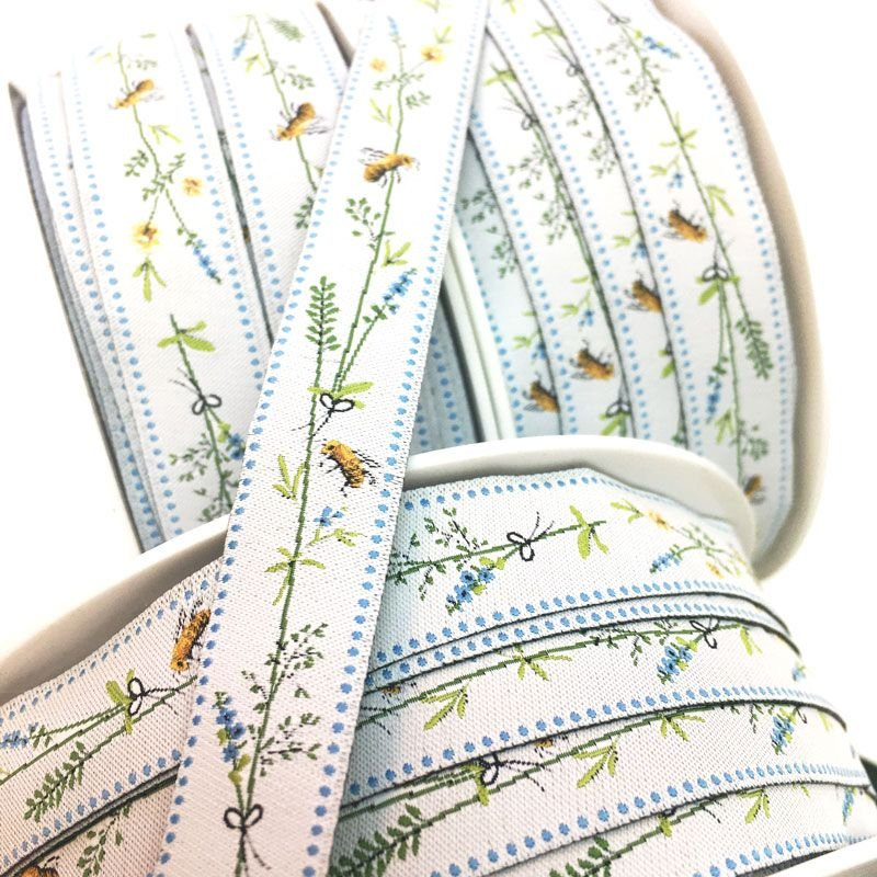 Acufactum Bees in Lavender Woven Ribbon