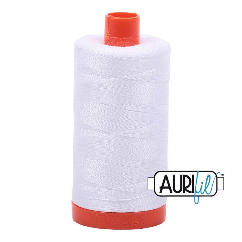 AURIFIL 2024 White MAKO 50 Weight 1000m 1094y Spool Cotton Quilting Thread