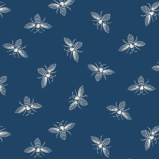 Indigo Bees from the French Bee Collection by Renee Nanneman for Andover Fabrics