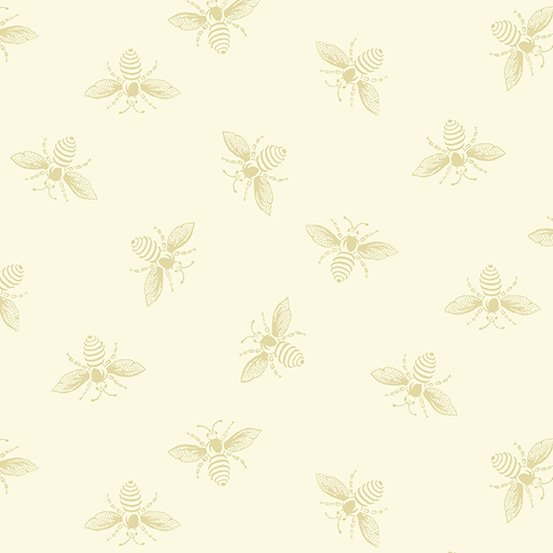 Alabaster Bees from the French Bee Collection by Renee Nanneman for Andover Fabrics