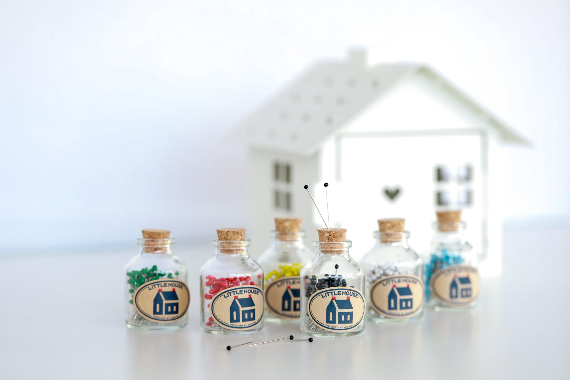 Little House Glass Head Pins in a Jar -- Choose Color