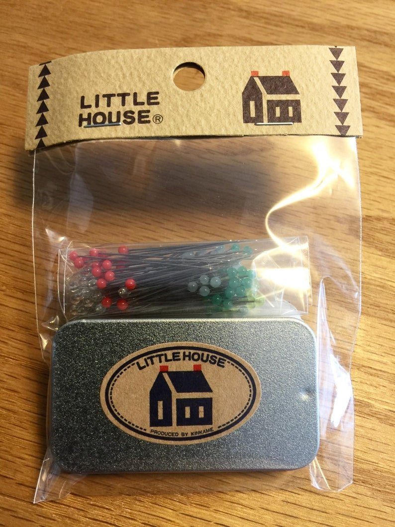 Little House Glass Head Sewing Pins with Storage Tin