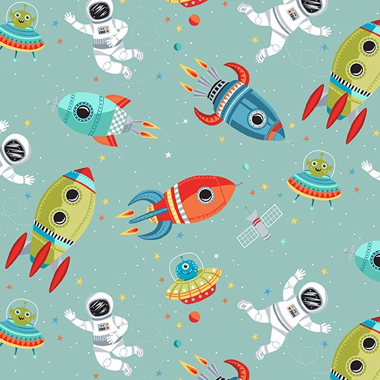 Space Scene in Blue by Makower UK for Andover Fabrics
