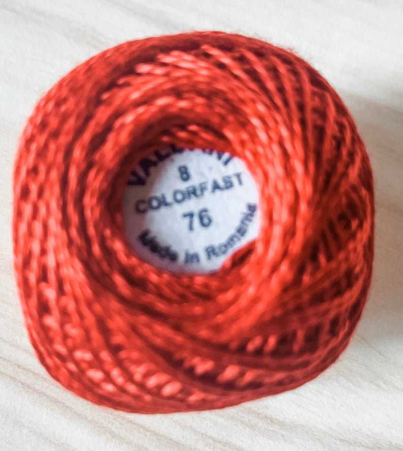 Valdani Solid Pearl Cotton 8wt Ball 73yd Christmas Red