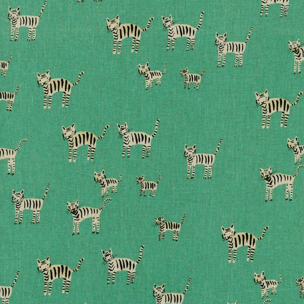 Hatbox Tigers Teal Cotton Canvas