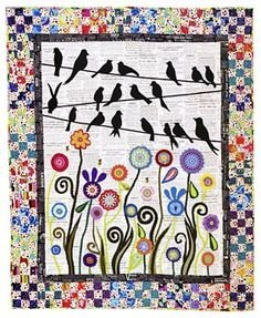 Birds On a Wire Wool Quilt Kit