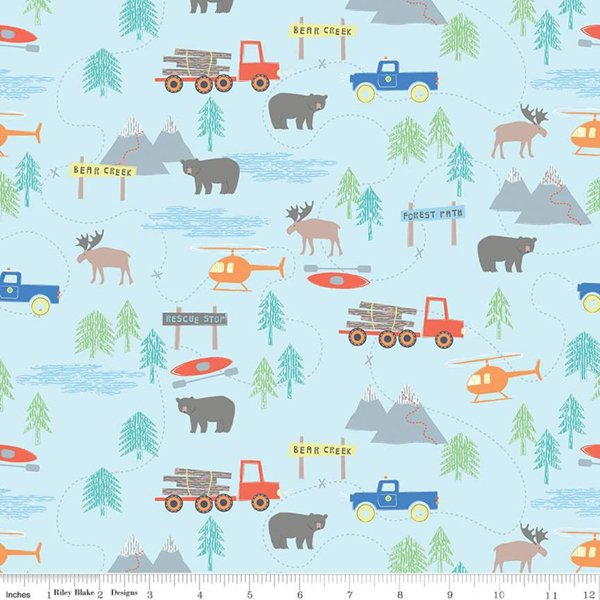 Flannel Forest Scene Blue