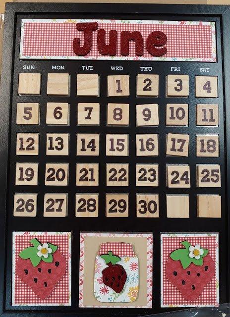 June Magnetic calendar insert