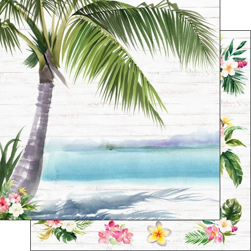 Vacay Palm Trees & Flowers Double-sided paper