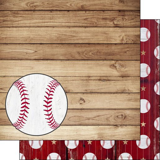 Baseball on Wood Double-sided paper
