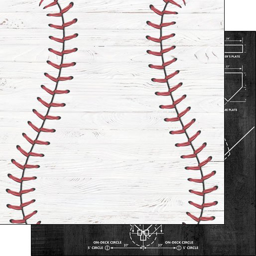 Baseball White Wood Double-sided paper