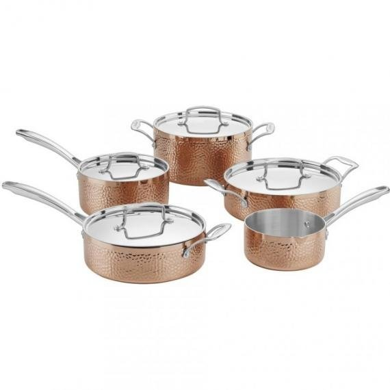 Cuisinart Hammered Collection Copper Try-Ply Stainless 9 Piece Cookware Set