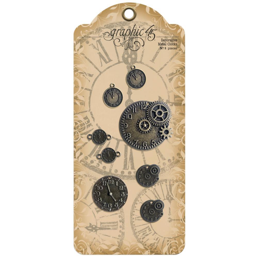 Graphic 45 Staples Decorative Metal Clocks 8/Pkg-