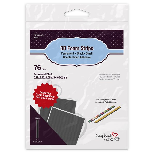 Scrapbook Adhesives 3D Foam Strips - Black