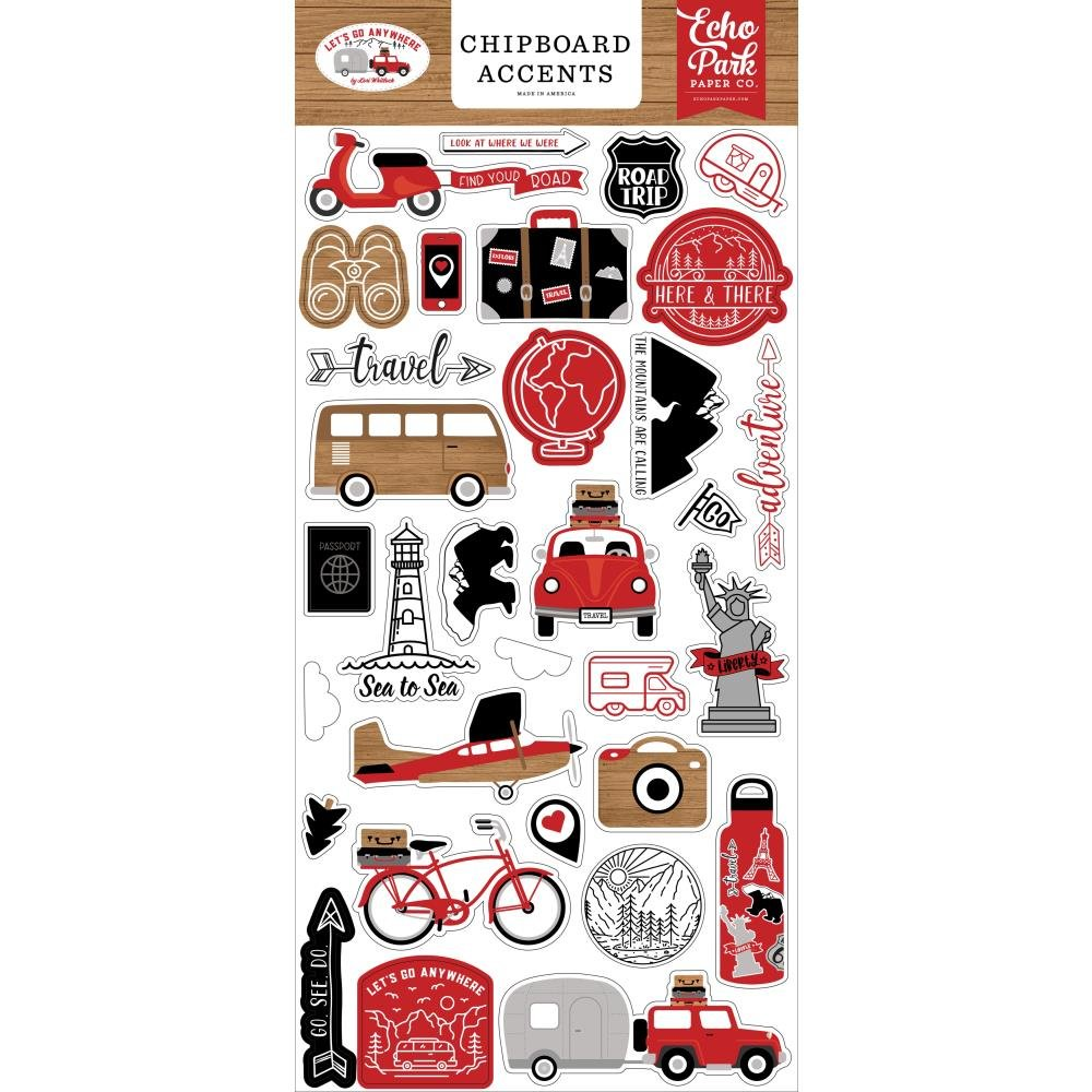 EP Let's Go Anywhere 6x13 Chipboard Accents