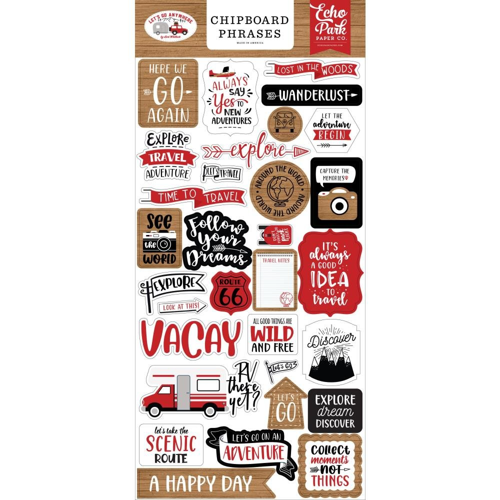 EP Let's Go Anywhere Chipboard Phrases
