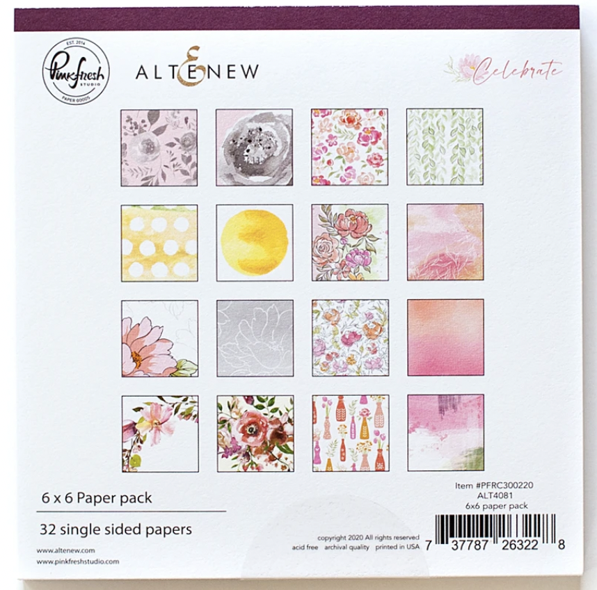 Pink Fresh Combo 2 - Celebrate 6x6 Pad with Ephemera