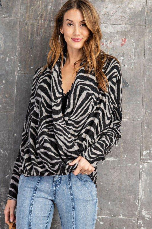 Long Sleeve Brushed Hacci Top, Zebra Print