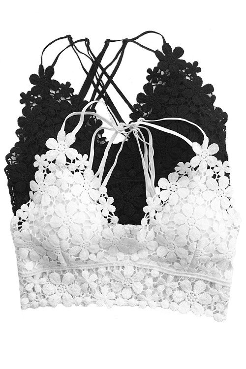 Crochet Lace Bralette, White