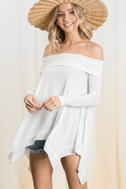Long Sleeve Off The Shoulder Top, Ivory