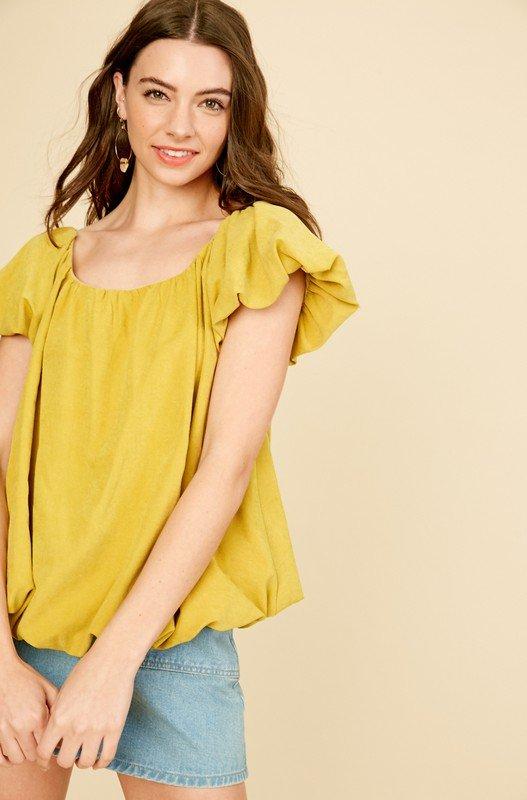 Textured Square Neck Balloon Sleeve Top, Mustard