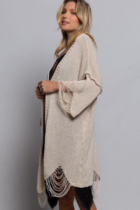 Lightweight Maxi Sweater Kimono Cardigan Design, Sand Castle