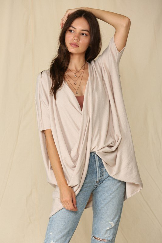 Short Sleeve Knit Sweater Twisted Tunic Top, Grey & Natural
