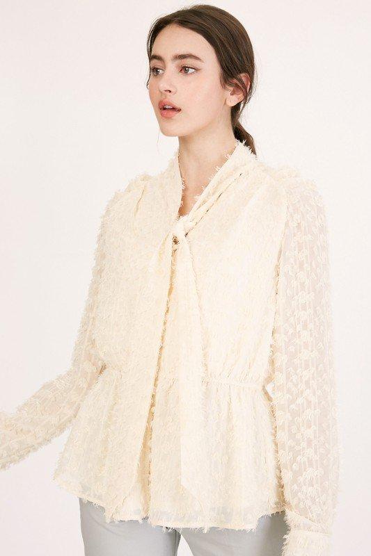 Textured Chiffon Ruffle Button Down Blouse, Cream