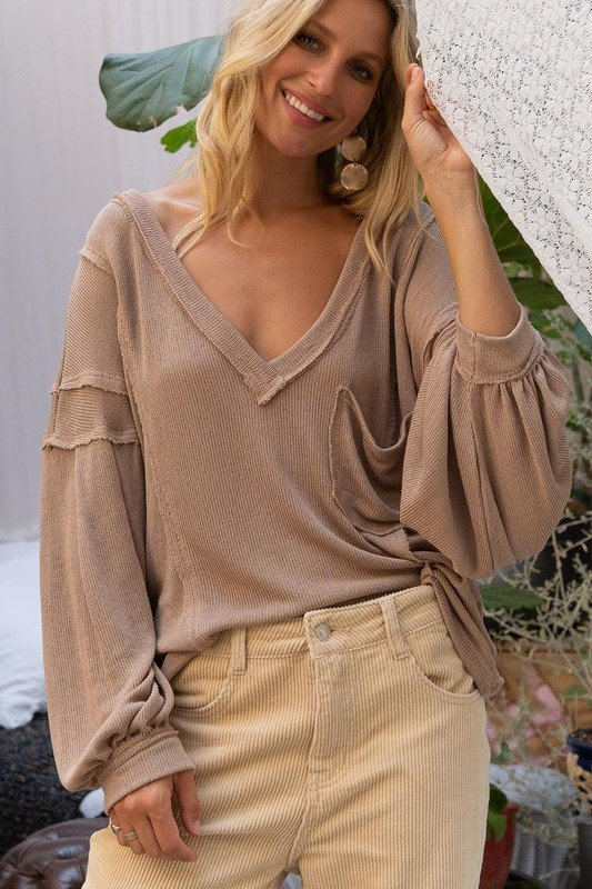Knit V-Neck w/ Front Pocket, Mocha