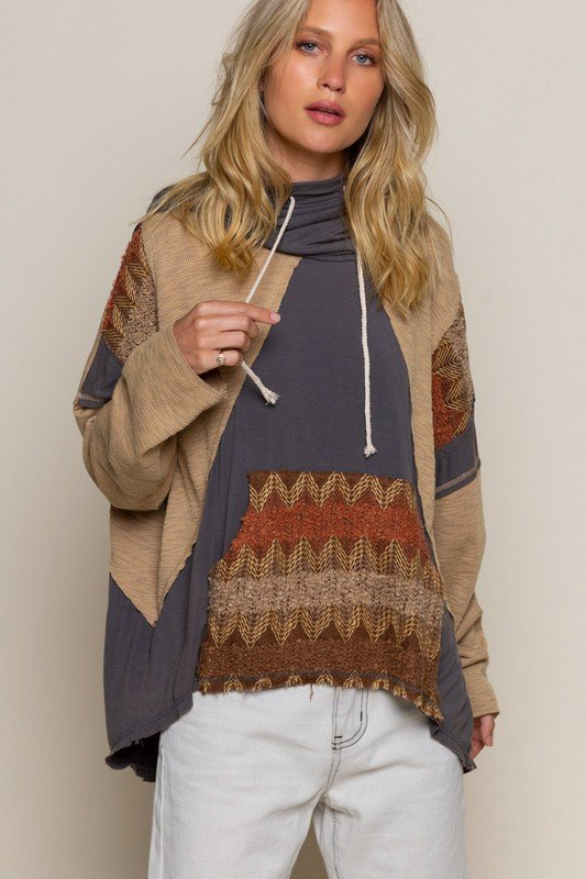 Hooded Long Sleeve Shirt, Charcoal Multi